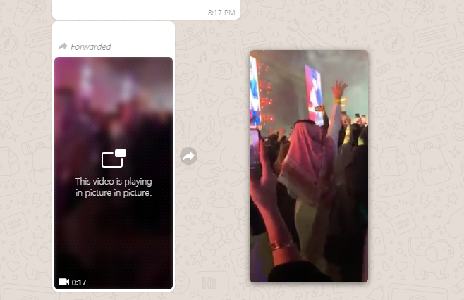 WhatsApp web video picture in picture