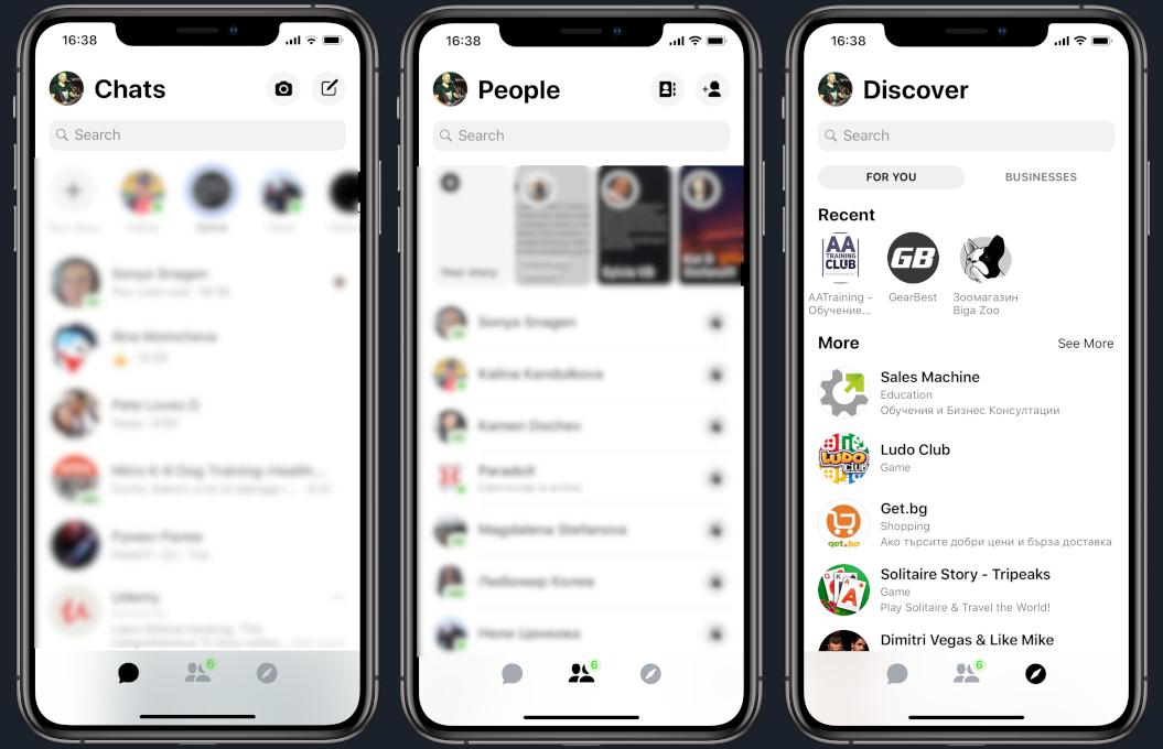 Facebook Messenger interfata noua