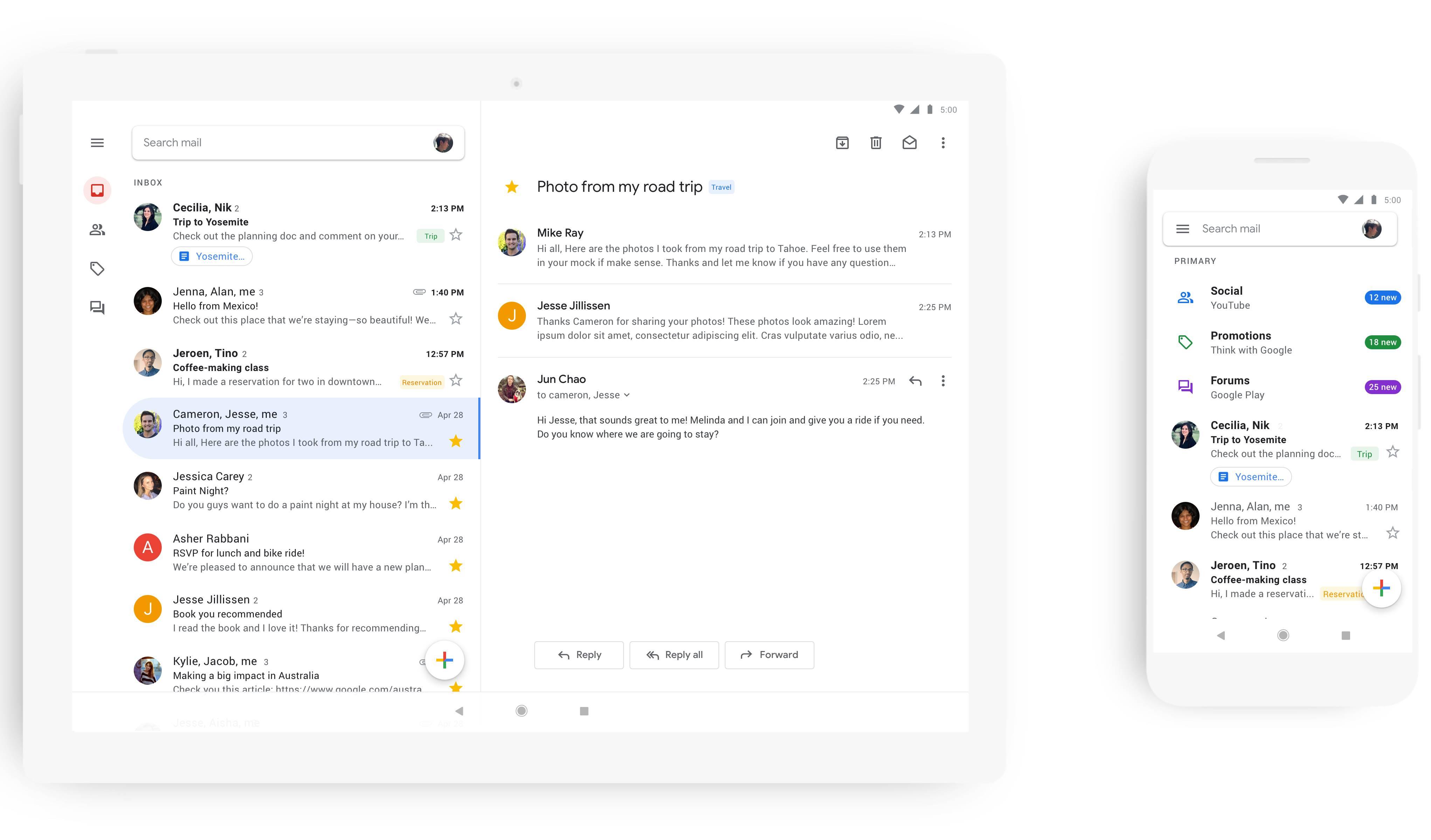 Gmail interfata ios android