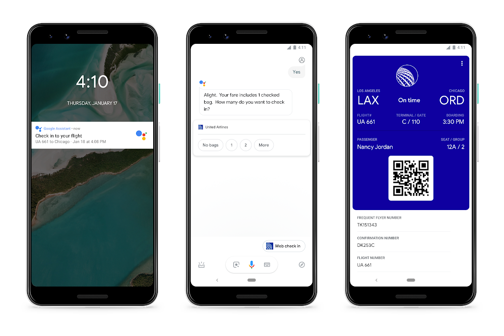 Google Assistant check-in avion