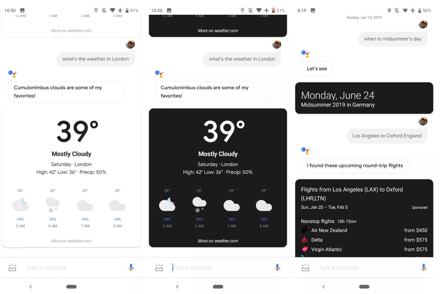 Google Assistant dark mode android