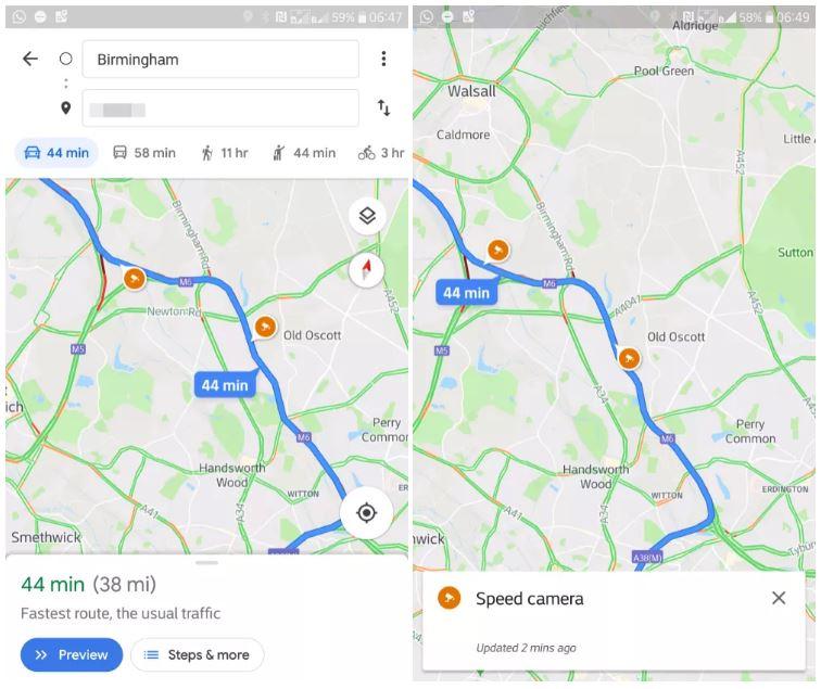 Google Maps radar accidente