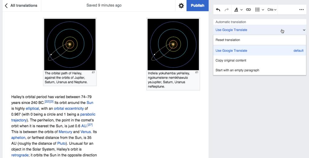Google Translate wikipedia online