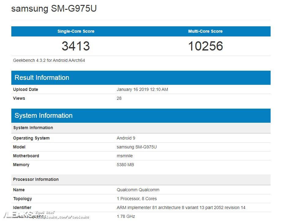 Samsung GALAXY S10 Benchmark geekbench