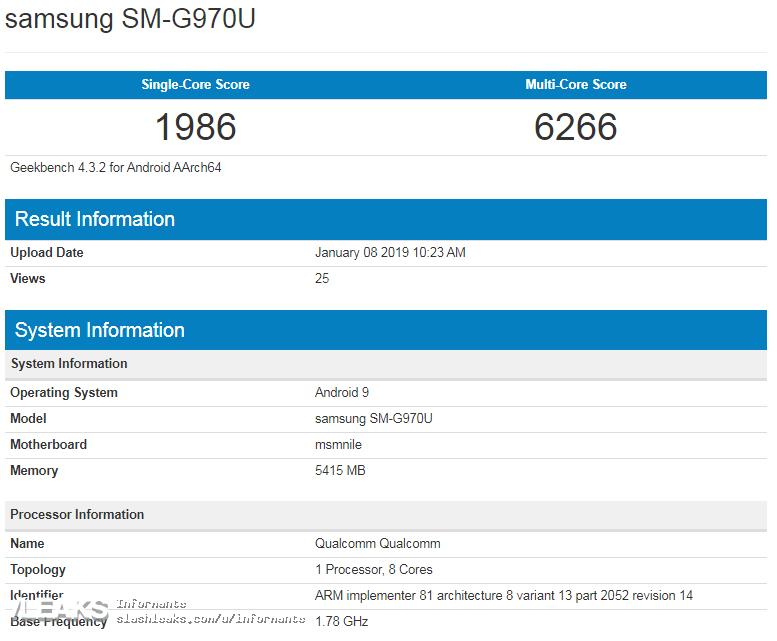 Samsung GALAXY S10 incarcare Snapdragon 855 procesor