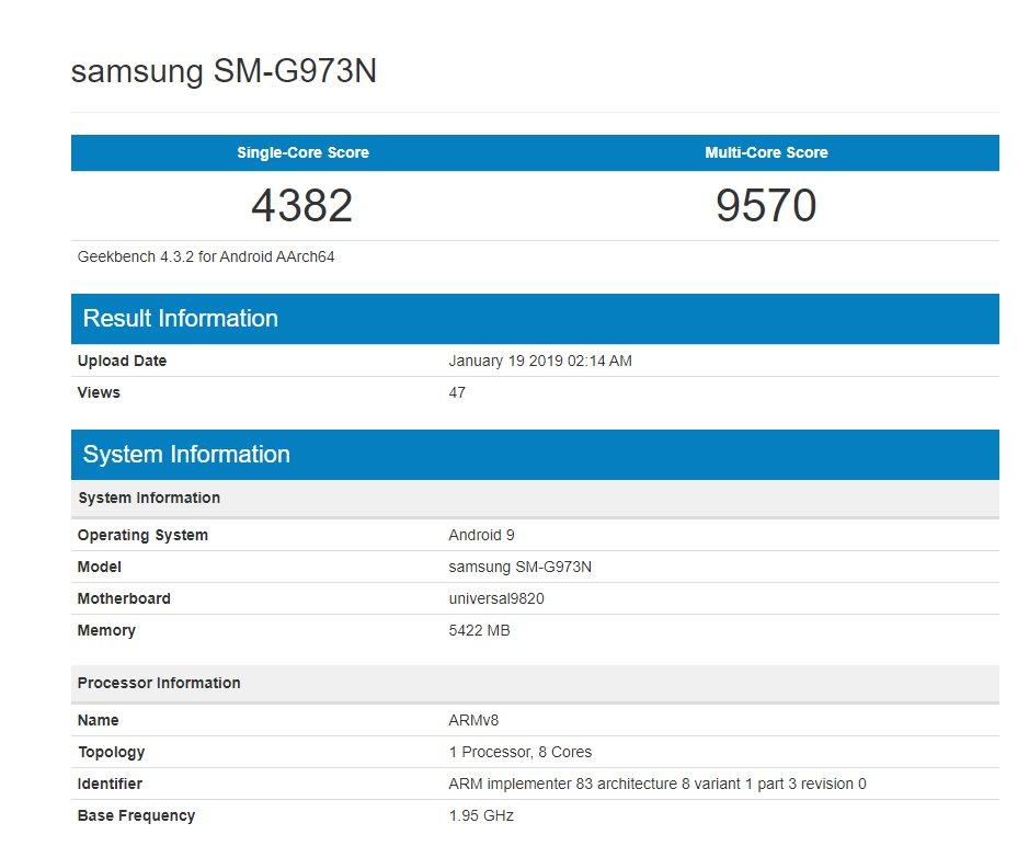 Samsung GALAXY S10 performante exynos 9820