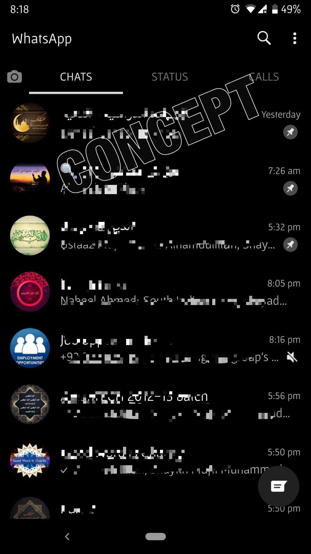 WhatsApp dark mode concept