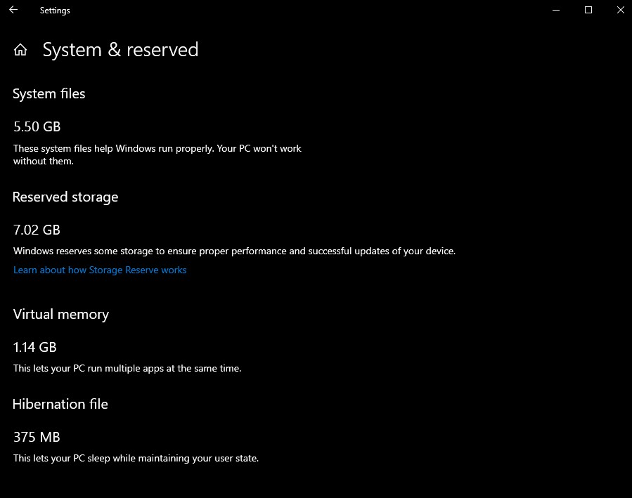 Windows 10 stocare rezerva