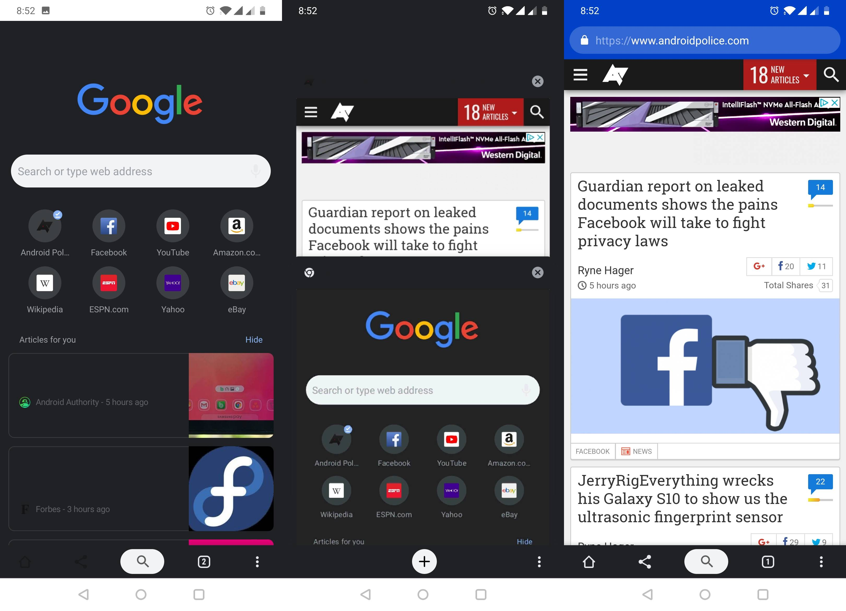 Google Chrome dark mode android interfata