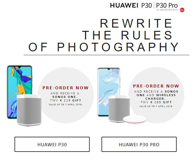 Huawei P30 PRO imagini cadou precomanda franta belgia olanda