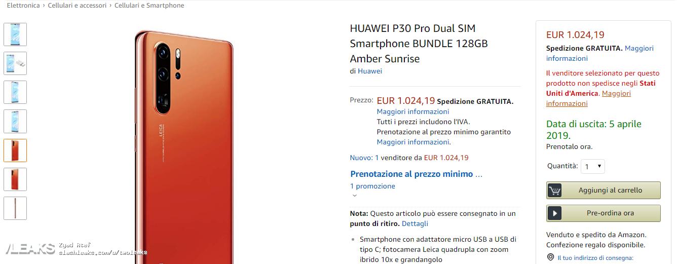 Huawei P30 PRO lansare data amazon