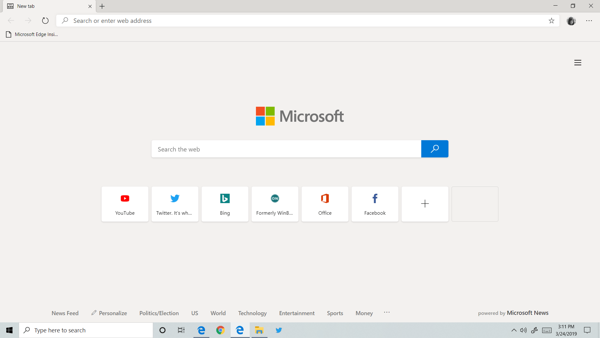 Windows 10 Microsoft Edge Chrome interfata
