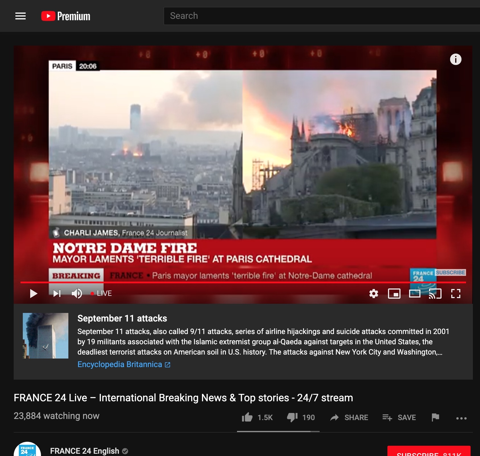 Catedrala Notre Dame incendiu youtube