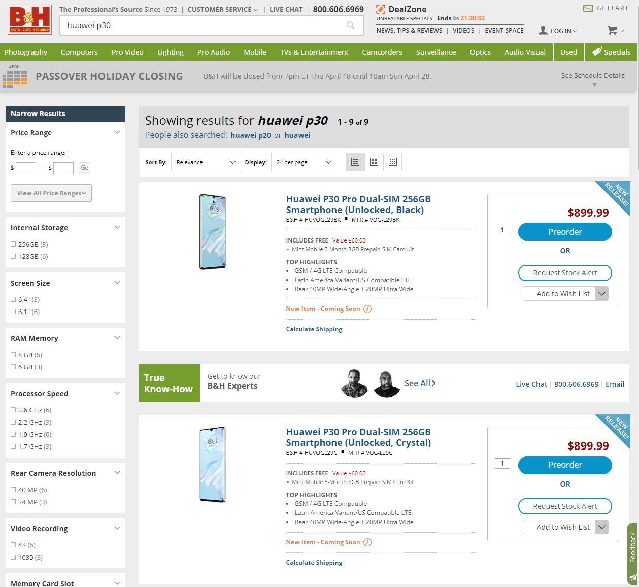 Huawei P30 PRO B&H
