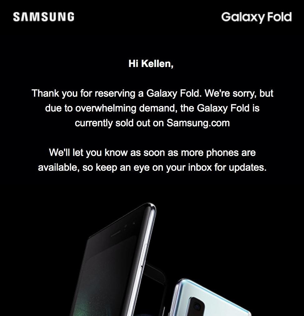 Samsung GALAXY FOLD succes precomenzi