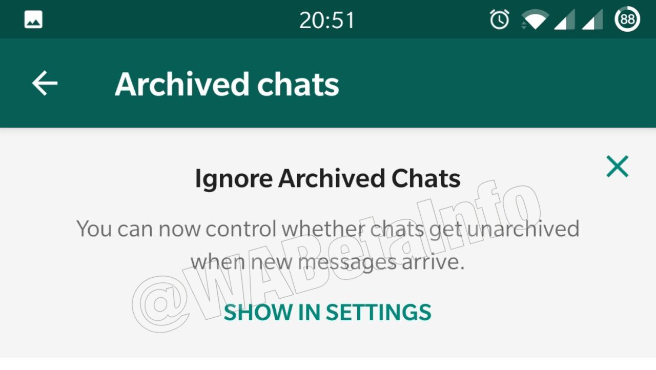WhatsApp ignore archived chats 2