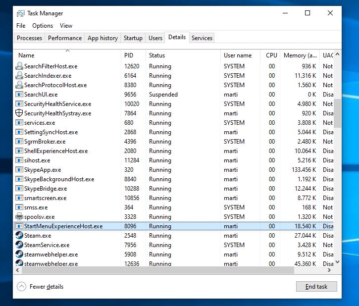 Windows 10 start menu proces