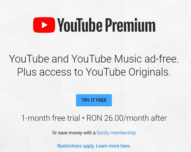 YouTube Music Premium Romania pret