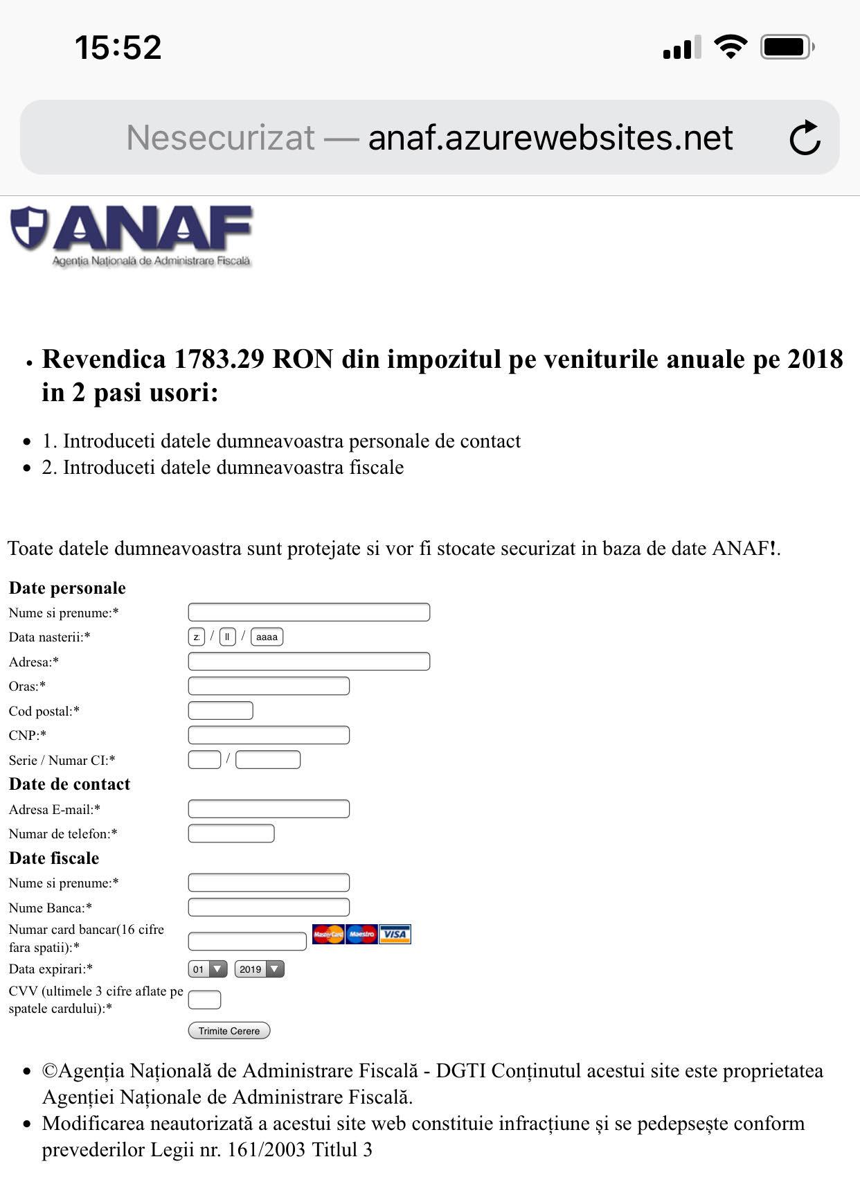 ANAF frauda card