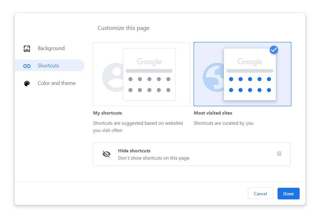 Google Chrome teme scurtaturi