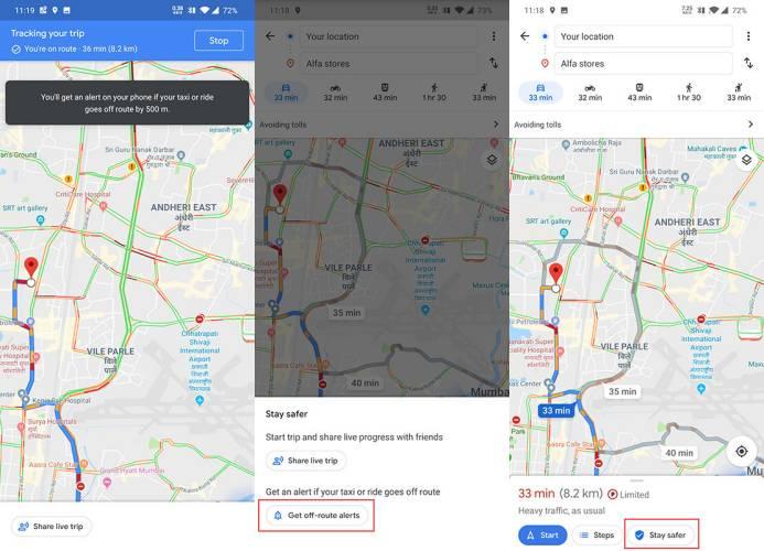 Google Maps alerta ruta taxi