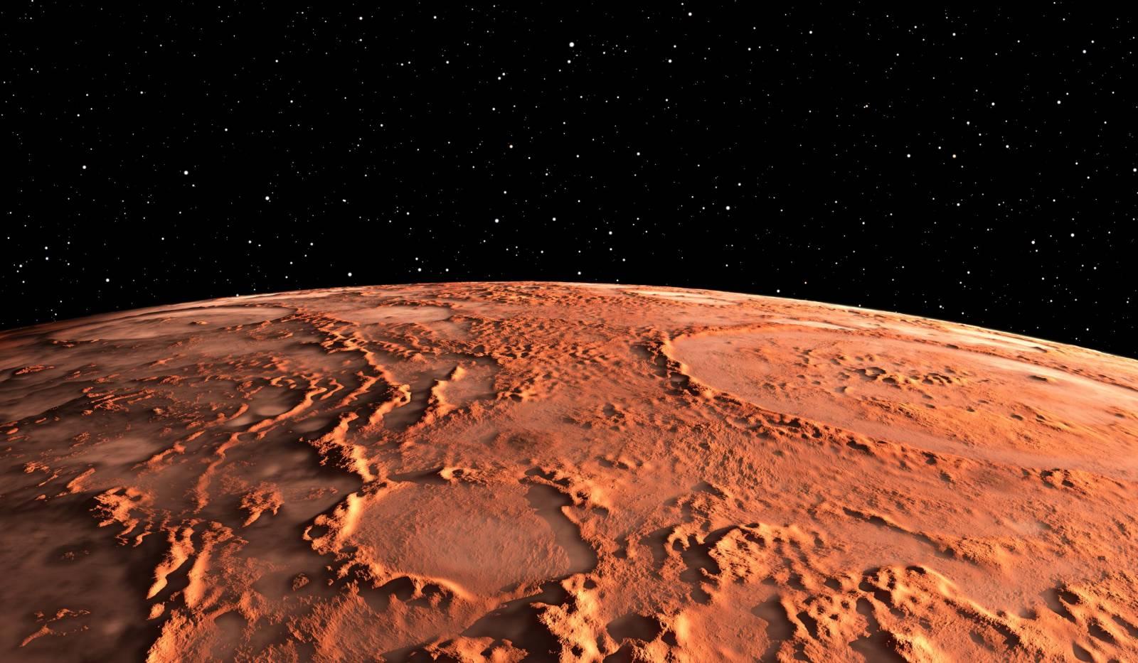 Planeta Marte crater