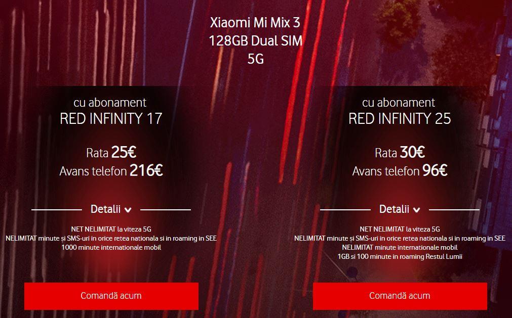 Vodafone abonamente 5g red infinity xiaomi mi mix 3