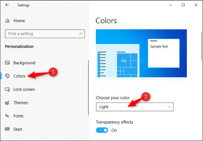 Windows 10 light tema microsoft