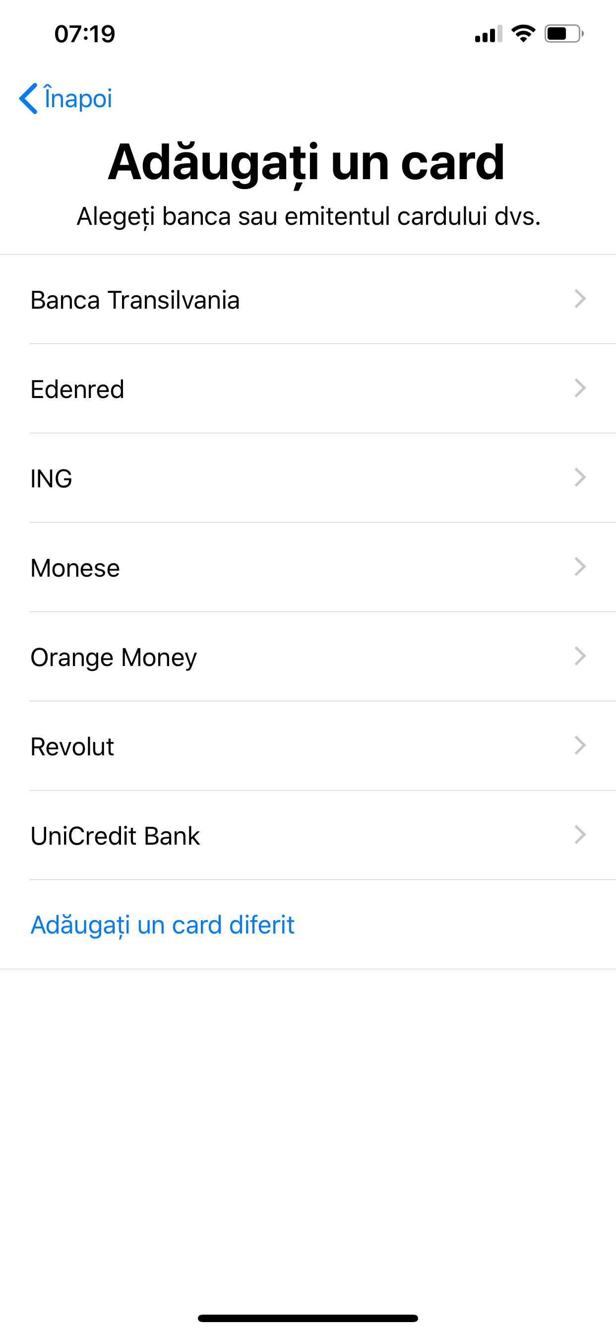 adaugi card apple pay iphone ipad romania