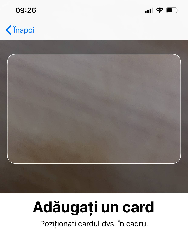 adaugi card apple pay iphone ipad scanare