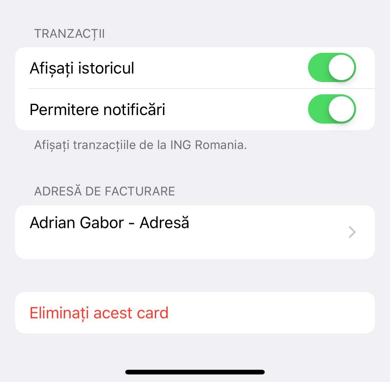 adaugi card apple pay iphone ipad stergere