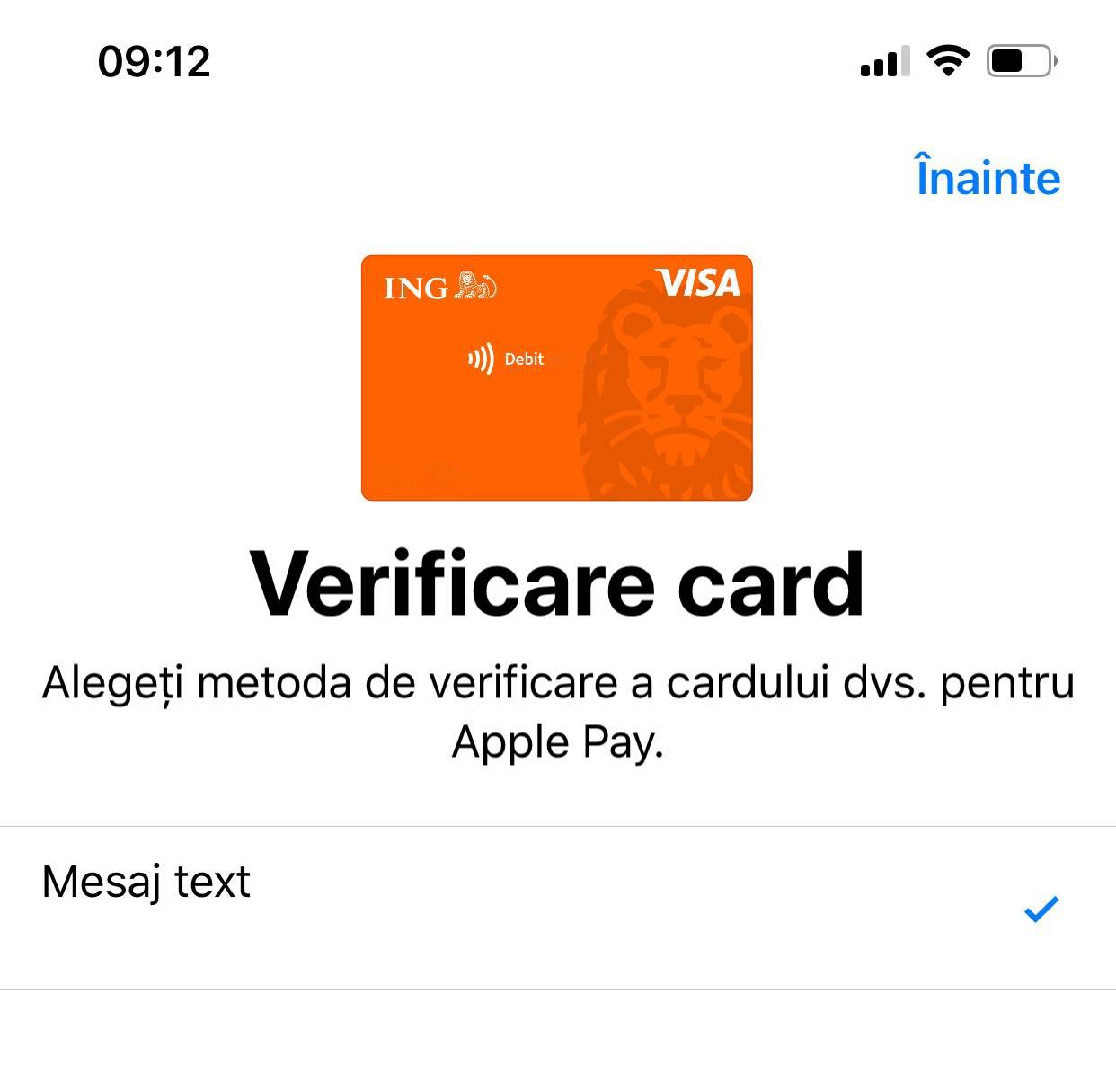 adaugi card apple pay iphone ipad verificare