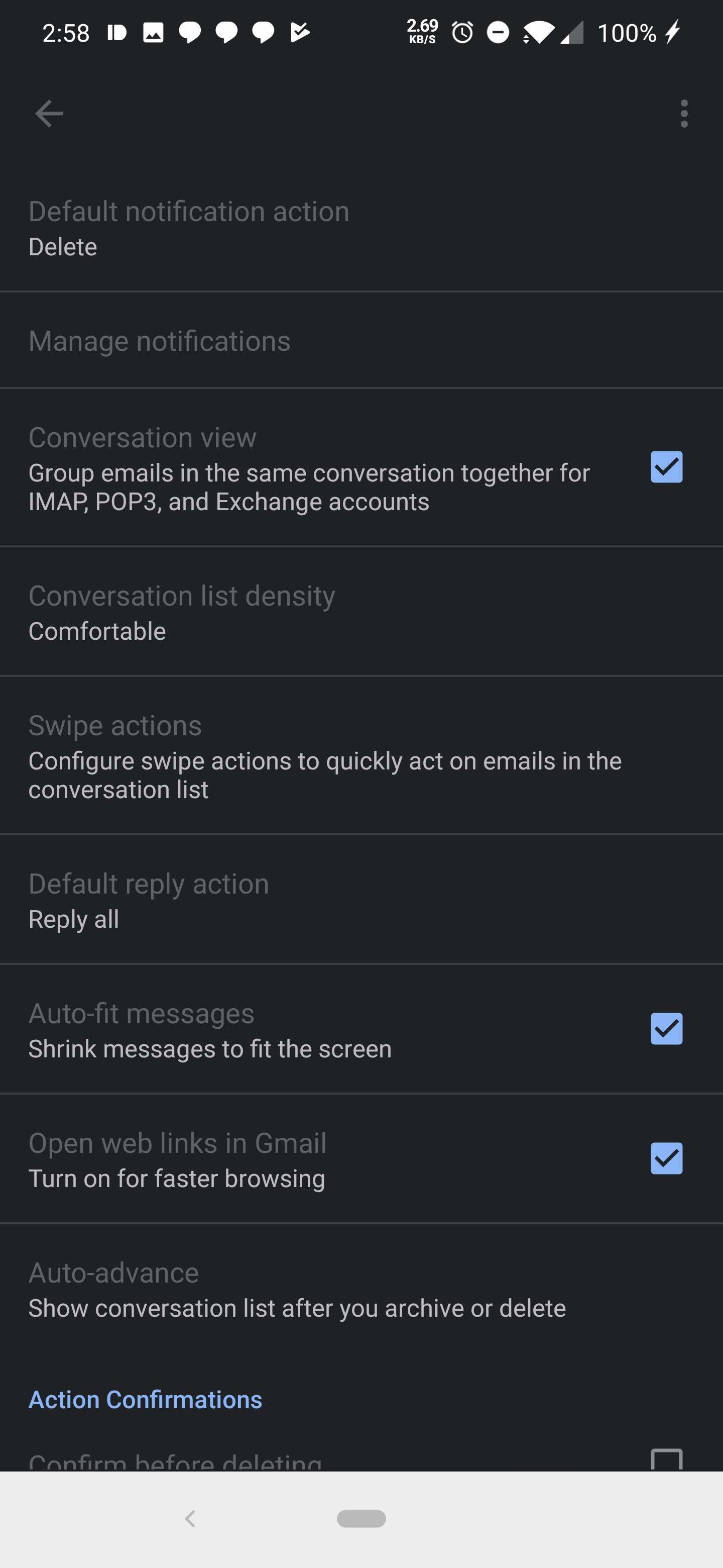 gmail dark mode android interfata