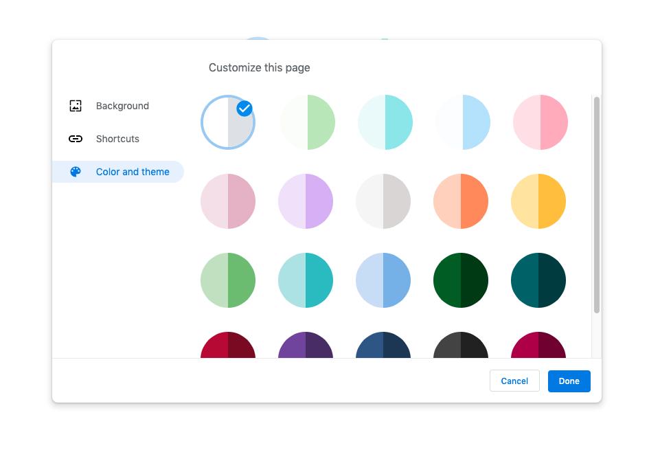 Google Chrome teme noi pagina