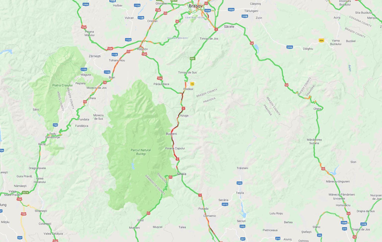 Google Maps Waze blocaj dn1 valea prahovei trafic