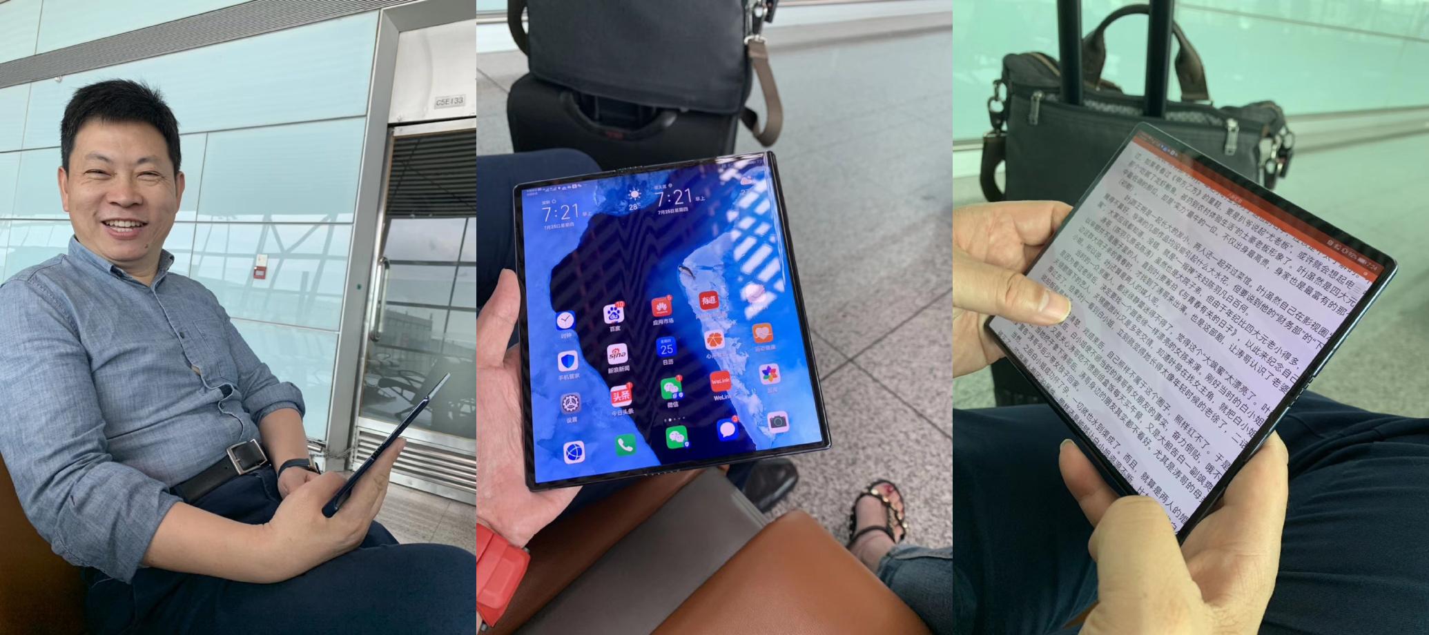 Noi Imagini Huawei MATE X folosit CEO Huawei aeroport