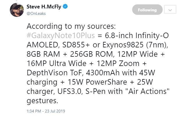 Samsung GALAXY NOTE 10 Plus specificatii