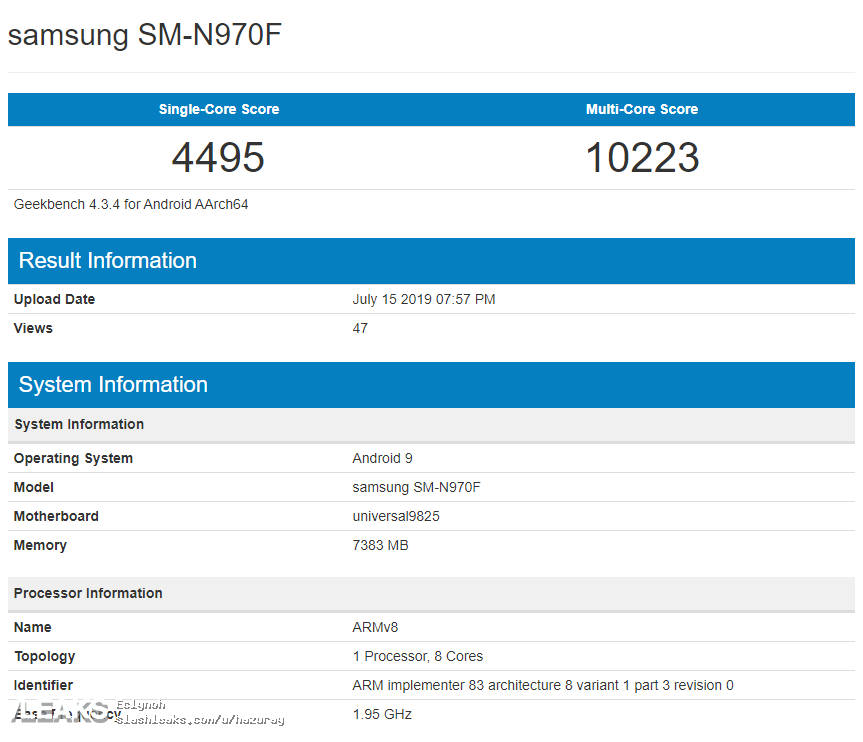 Samsung GALAXY NOTE 10 performante exynos 9825