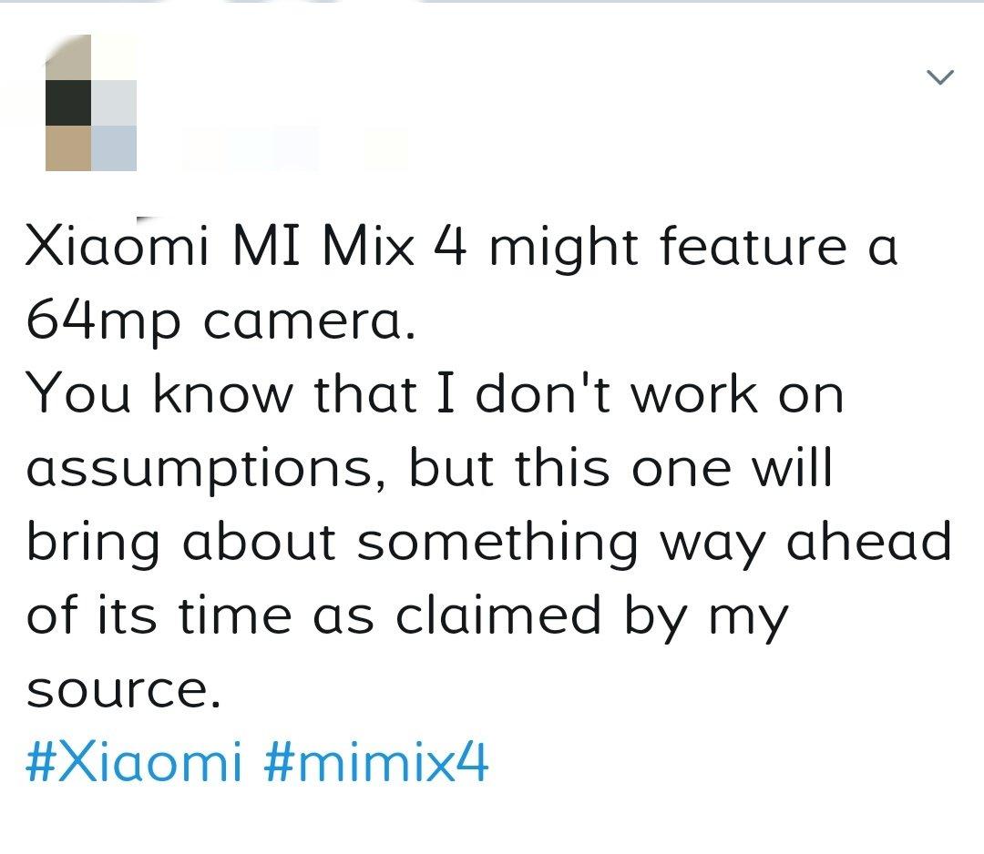 Xiaomi Mi Mix 4 camera noua