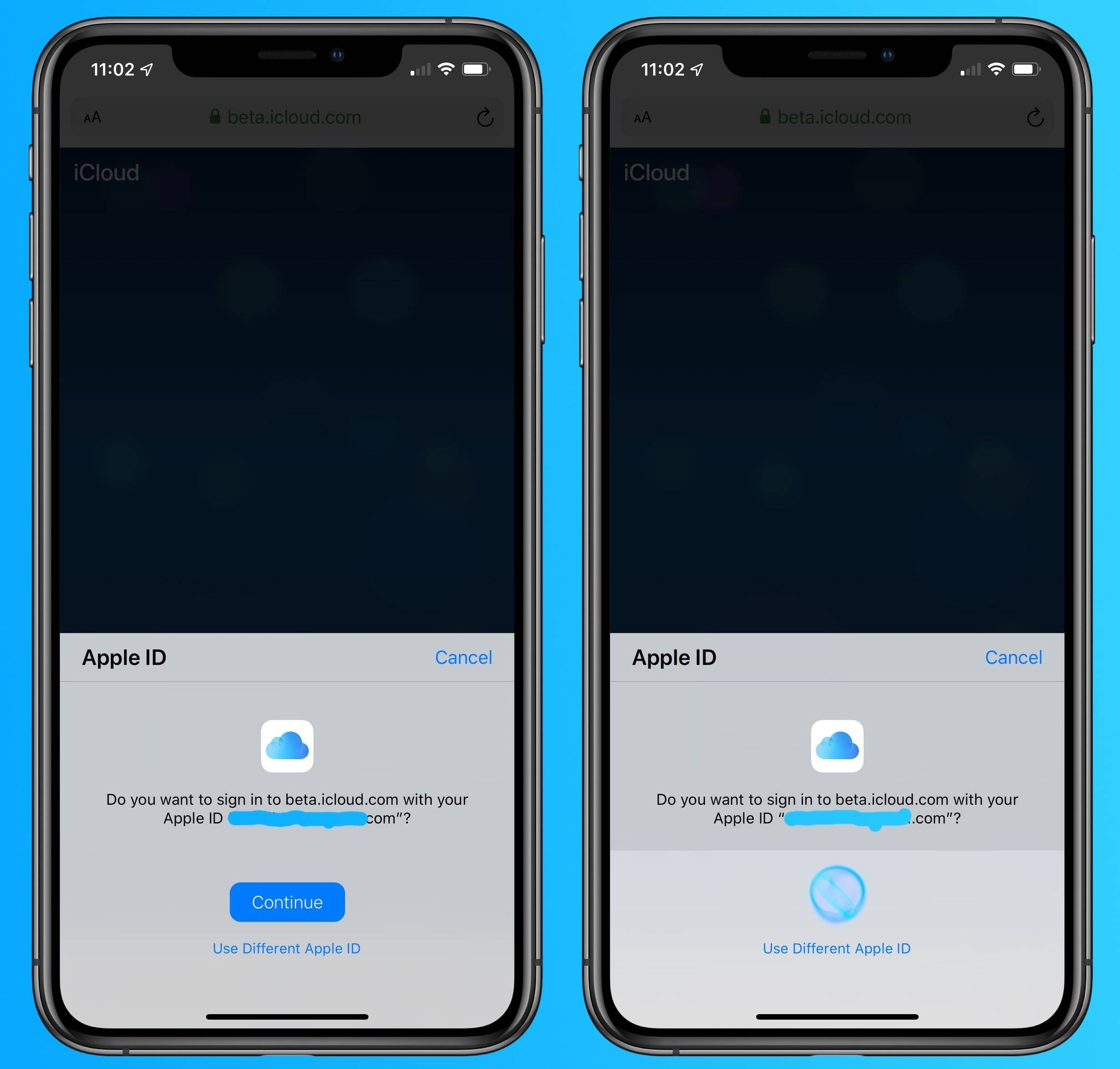 apple face id touch id icloud.com logare