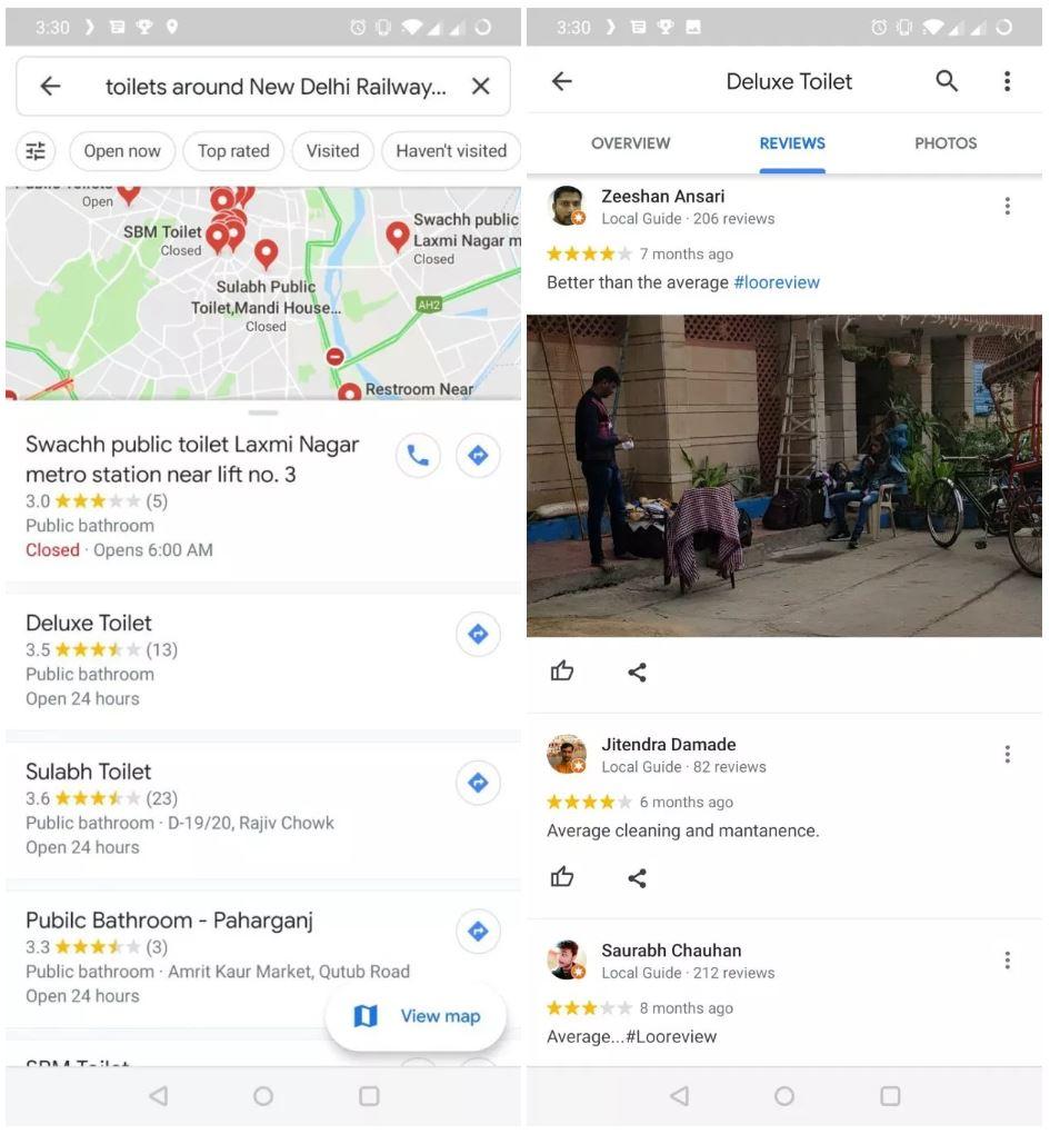 google maps toalete publice
