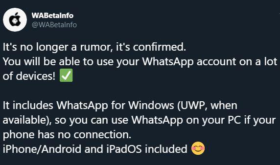 WhatsApp conectare simultana