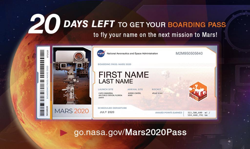 Planeta Marte. Iata CUM iti TRIMITI Numele in Spatiu cu NASA boarding pass