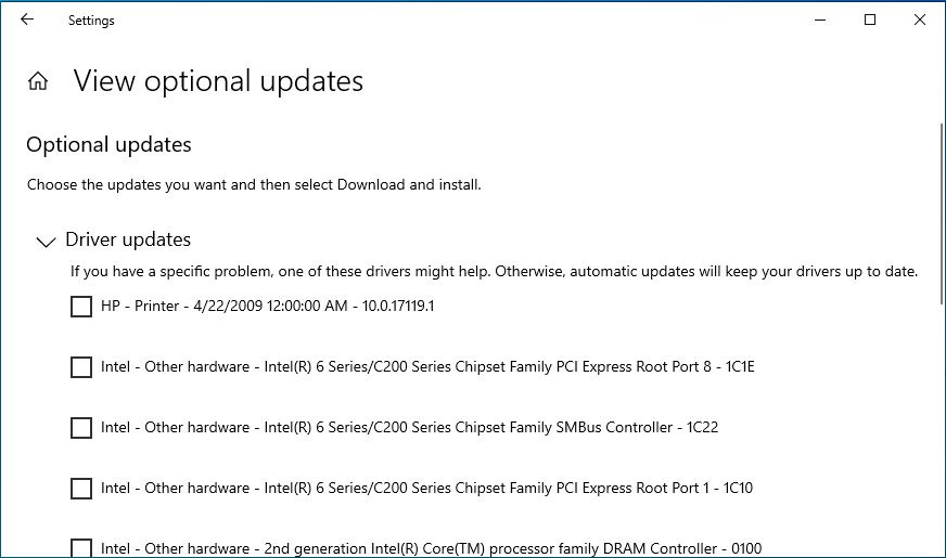 Windows 10 actualizari optionale separate