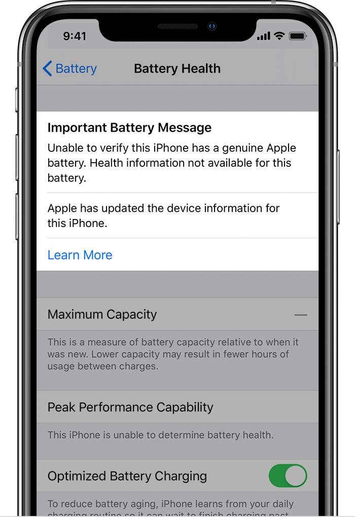 iphone 11 alerta baterie contrafacuta