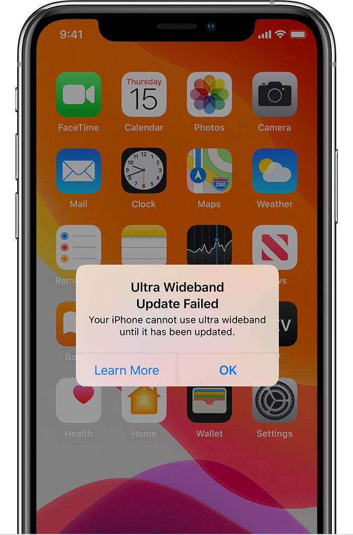 Actualizarea de bandă ultralargă a eșuat iOS 13.1.3