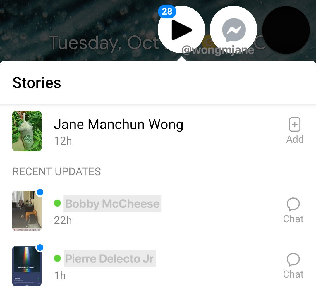 Facebook Messenger secret chat heads stories