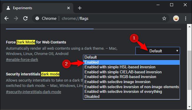 Google Chrome dark mode website activare