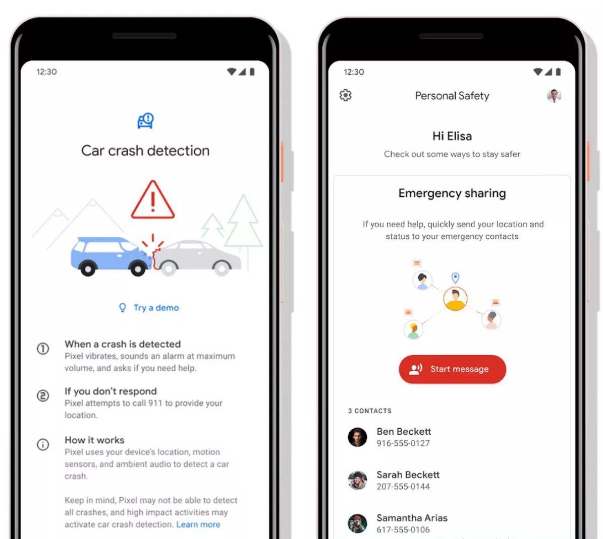 Google Pixel 4 accident rutier detectare