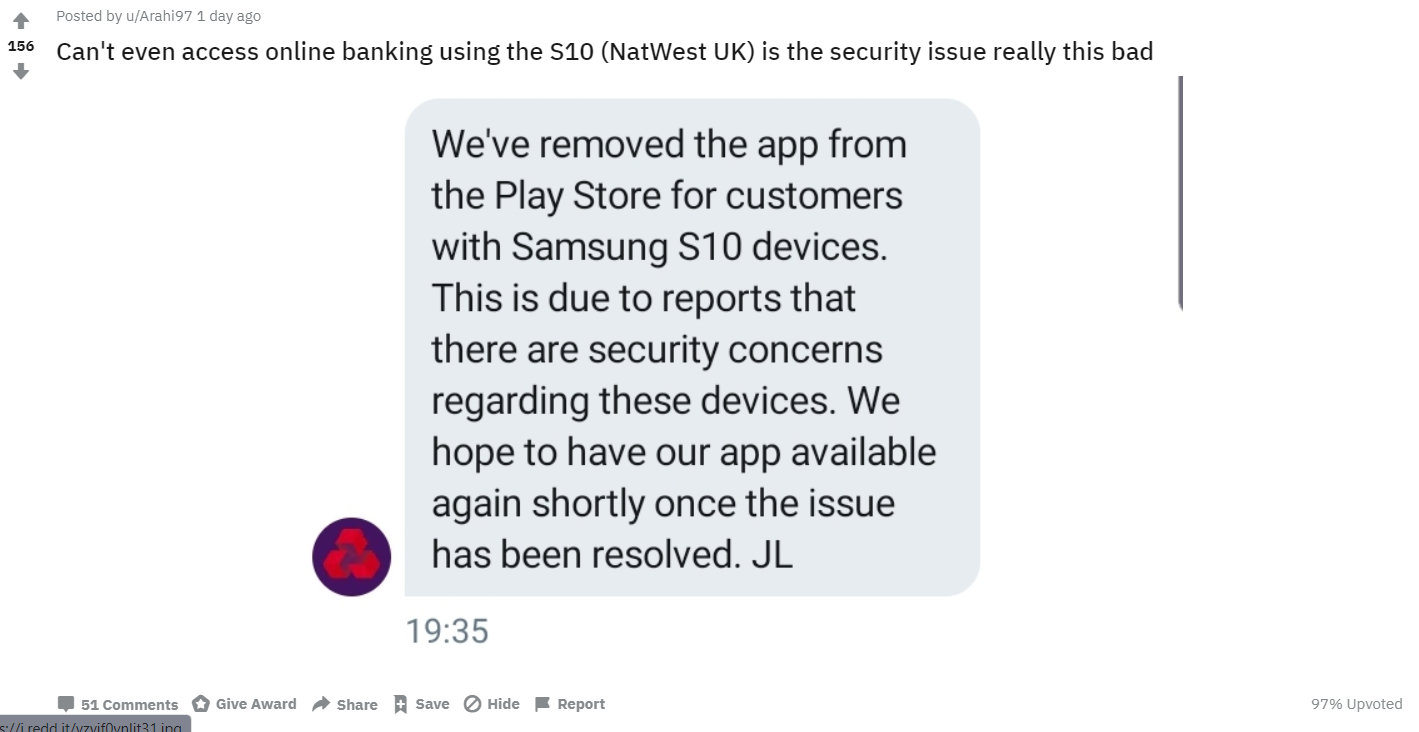 Samsung GALAXY S10 INTERZIS Banci problema